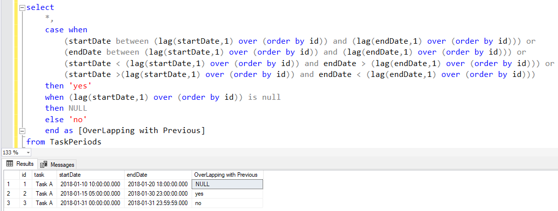check if time periods overlap using SQL Lag function