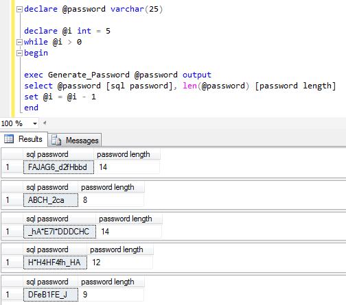 create password in SQL using password generator code