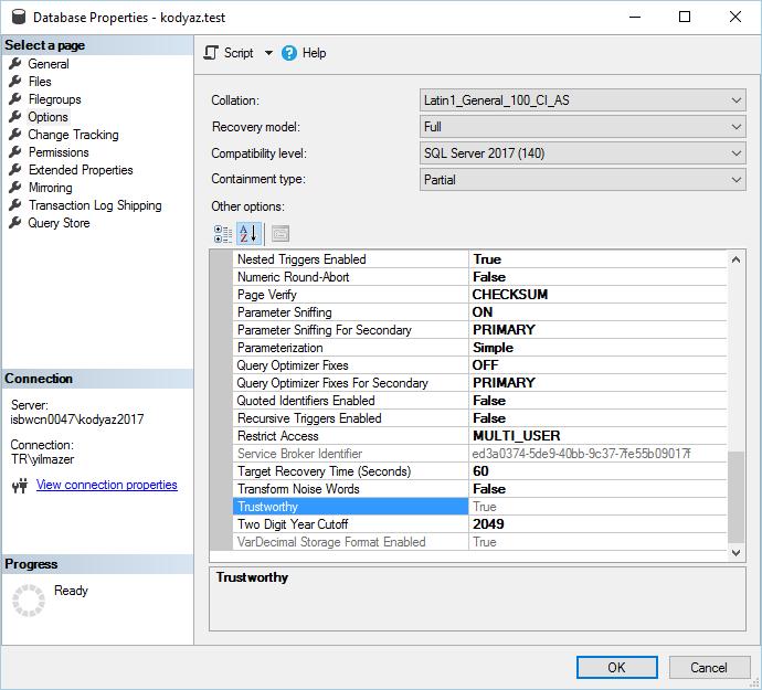 display and set SQL Server database option Trustworthy