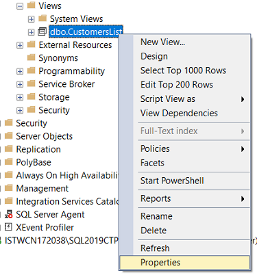 SQL Server database view properties