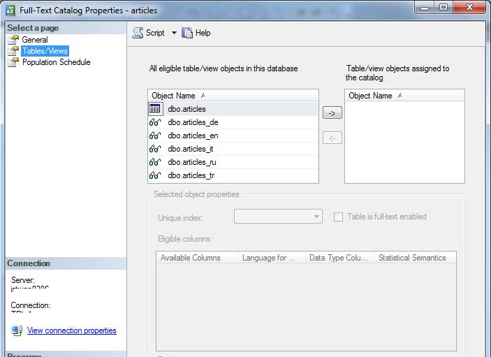 SQL Server Full-Text Catalog properties