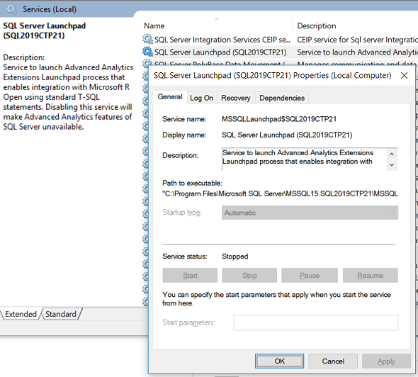 SQL Server Launchpad service in stopped status