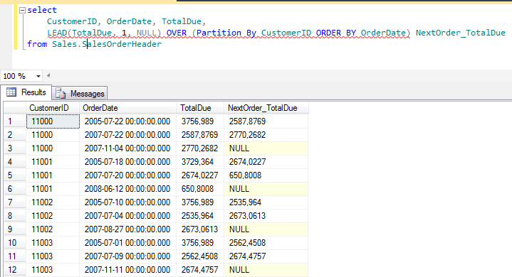 SQL Server LEAD() analytic function sample