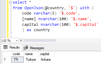 SQL Server OpenJSON query sample