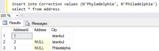 SQL Server trigger for misspelled words correction