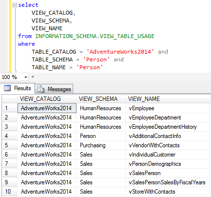 query SQL Server metadata for view tables