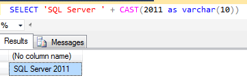 SQL string concatenation with numbers using CAST function