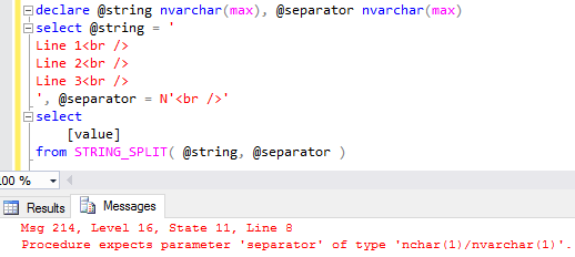 SQL String_Split() function separator