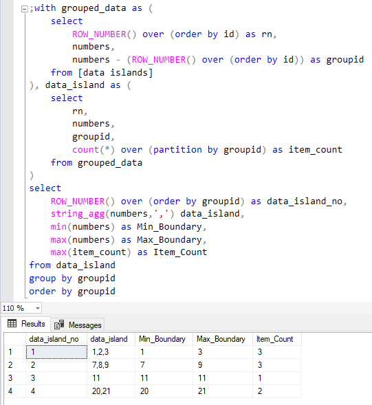 SQL Server database SQL query for data islands and gaps with boundart values