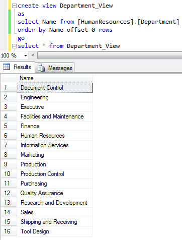 sort SQL Server View with Order By Offset 0 Rows
