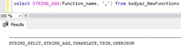 SQL string concatenation with SQL Server 2017 string_agg function