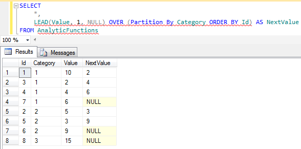 TSQL LEAD() function in SQL Server 2012 for next value calculation