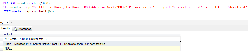 Error = [Microsoft][SQL Server Native Client 11.0]Unable to open BCP host data-file