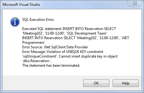 SQL Server error: Violation of unique key constraint