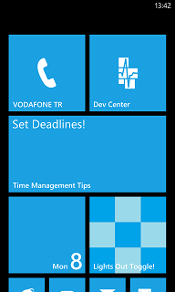 time management app pinned at Windows Phone start screen