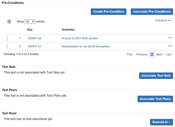 test sections for Test Jira issue type