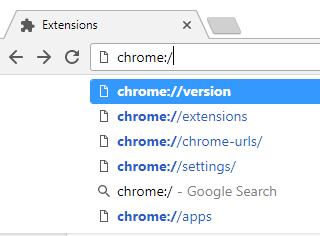 full list of Chrome URLs