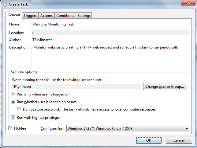 Windows Task Scheduler Actions menu