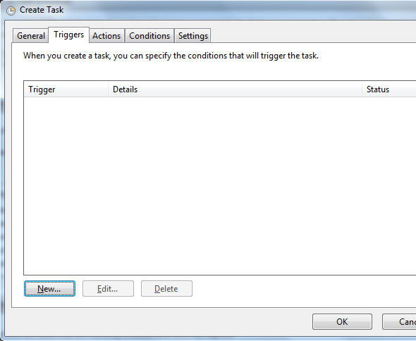 create new task trigger on Task Scheduler tool