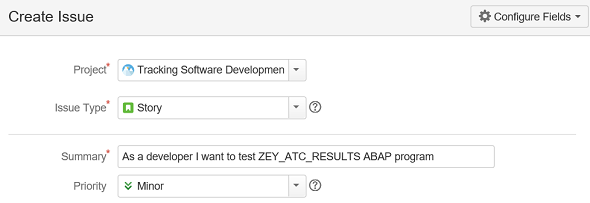 create new story issue for requirement in test management on JIRA