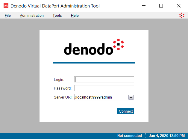 Denodo Virtual DataPort Administration Tool logon screen