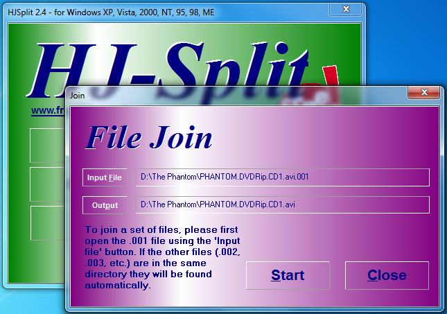 select input file 001 for joining with hjsplit