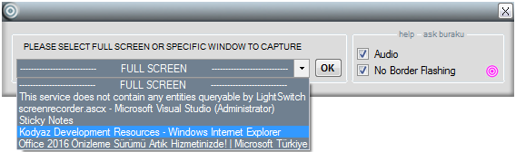 screen recorder tool to capture specific window