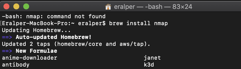 install nmap on Mac using brew on Terminal