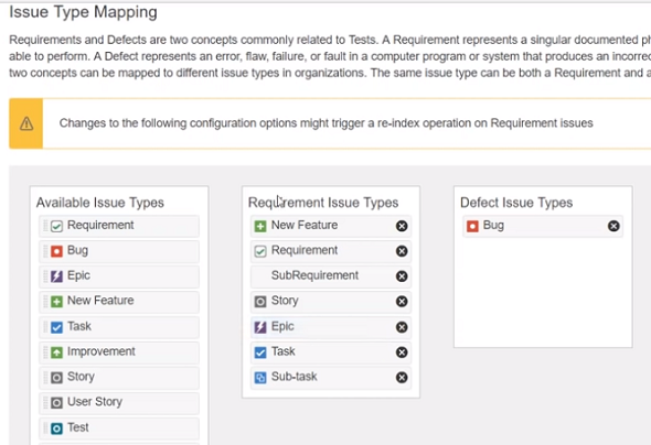 issue type mapping for requirement in JIRA Xray test management tool