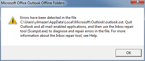 use Inbox repair tool Scanpst.exe