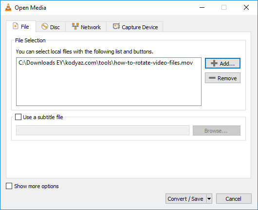 select video file to convert