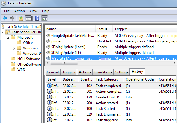 website monitor tool execution history in Task Scheduler tool