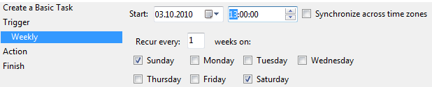 weekly-task-settings-for-windows-7-task-scheduler-to-trigger-on-weekends