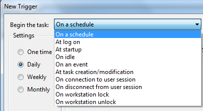 task trigger options on Task Scheduler tool