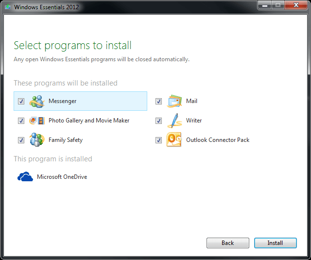 Microsoft Windows Essentials components to install