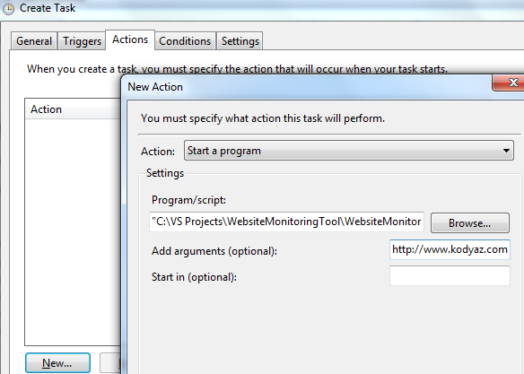 task scheduler step to start website monitoring tool