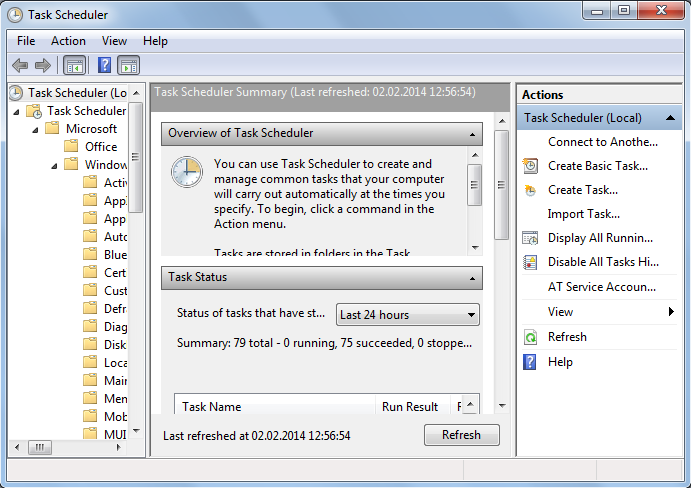 Task Scheduler tool on Windows 7