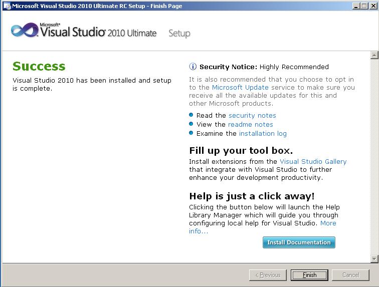 microsoft-visual-studio-2010-ultimate-setup-success