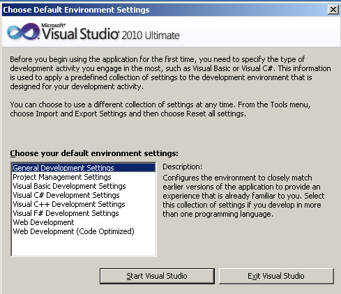 microsoft-visual-studio-2010-default-environment-settings