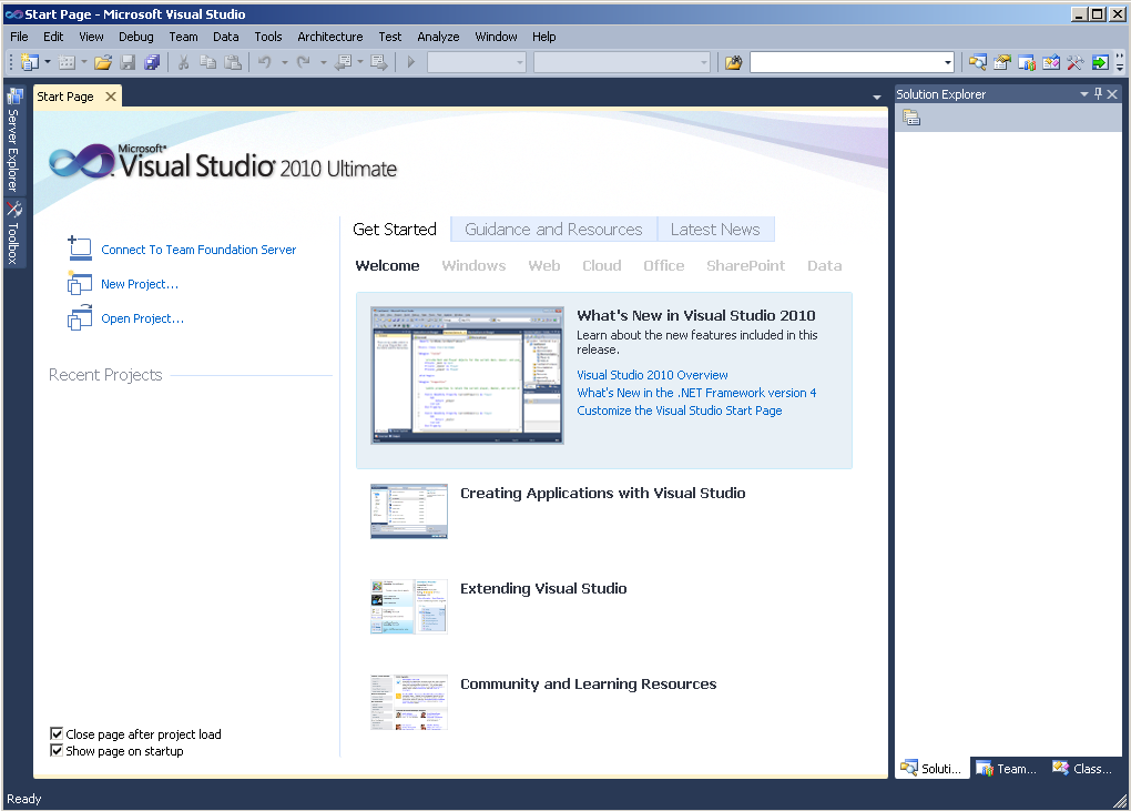 microsoft-visual-studio-2010-ultimate-screenshots-start-page