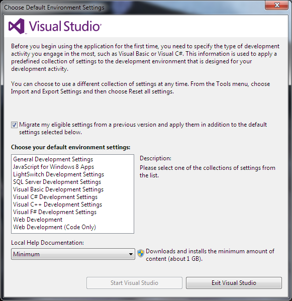 choose default environment settings in Visual Studio 2012 IDE