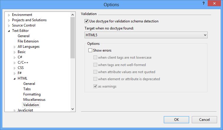 disable HTML5 validation in Visual Studio 2012
