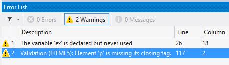 HTML validation error in Visual Studio 2012 error list window
