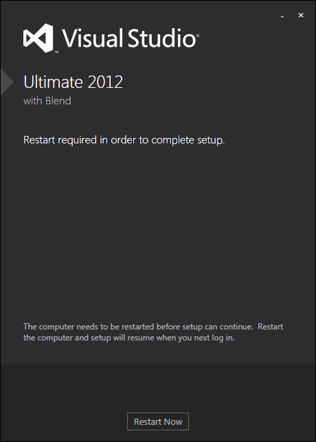 restart Windows 7 during Visual Studio 2012 Ultimate