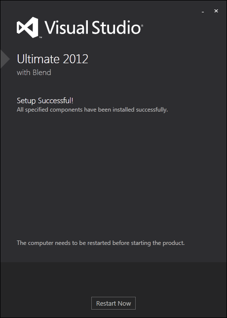 Visual Studio installation is completed successfully