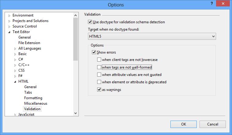 Configure Visual Studio 2012 Text Editor HTML Validation options