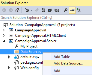 add OData service as data source in Visual Studio 2013 project