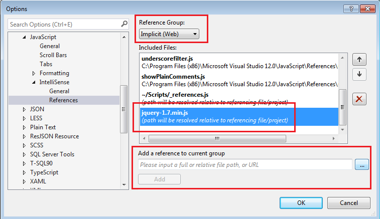 Javascript reference for Intellisense support in Visual Studio