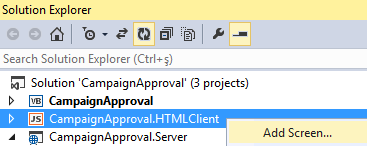 add screen for OData entities in Visual Studio LightSwitch project