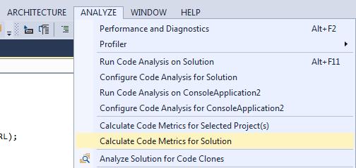 calculate code metrics in Visual Studio 2013